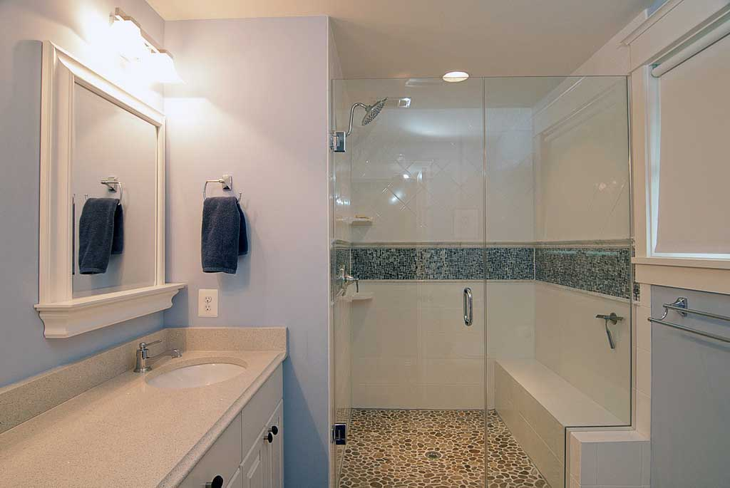 redesigned bathroom with sink and vanity