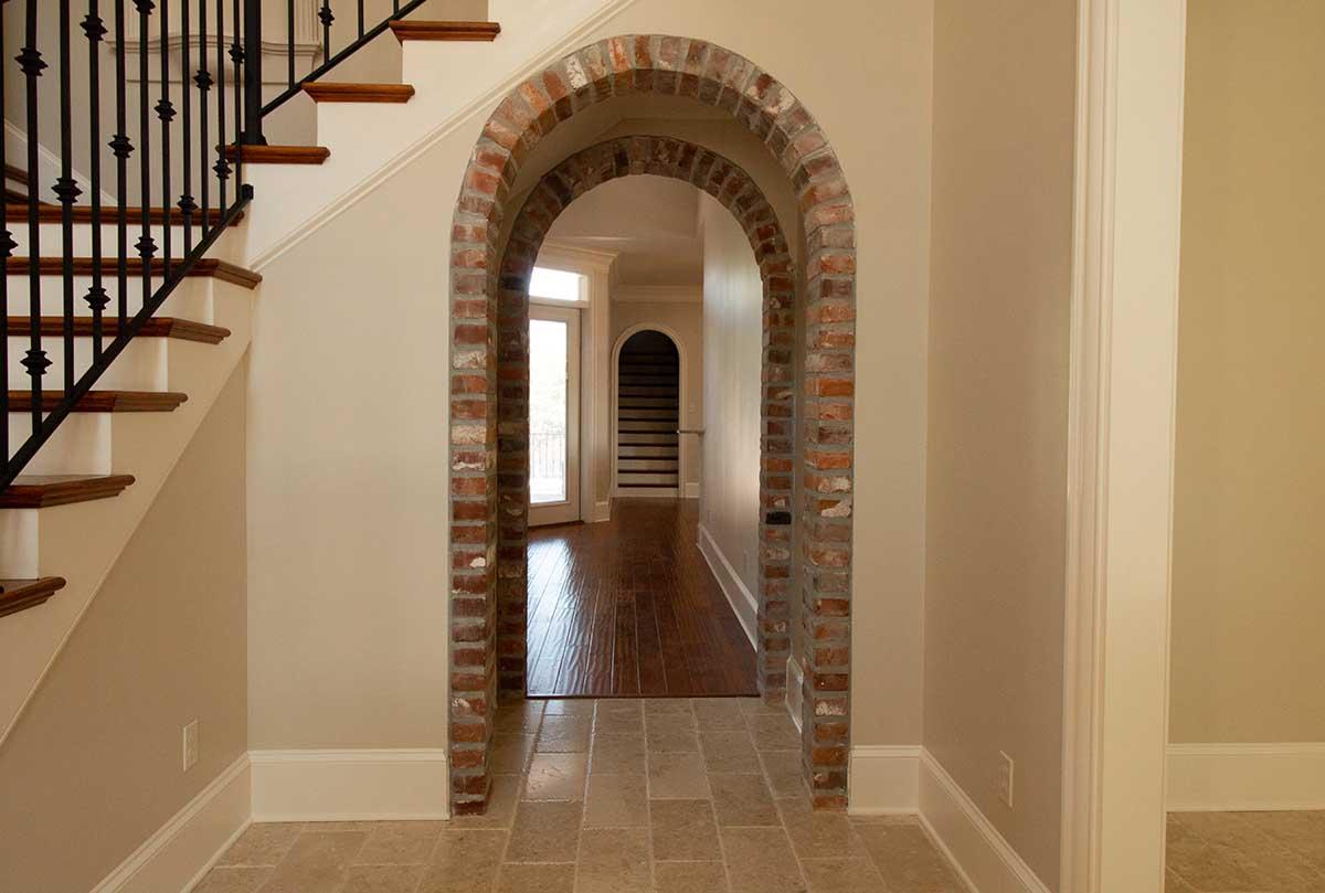 Brick entry way inside home