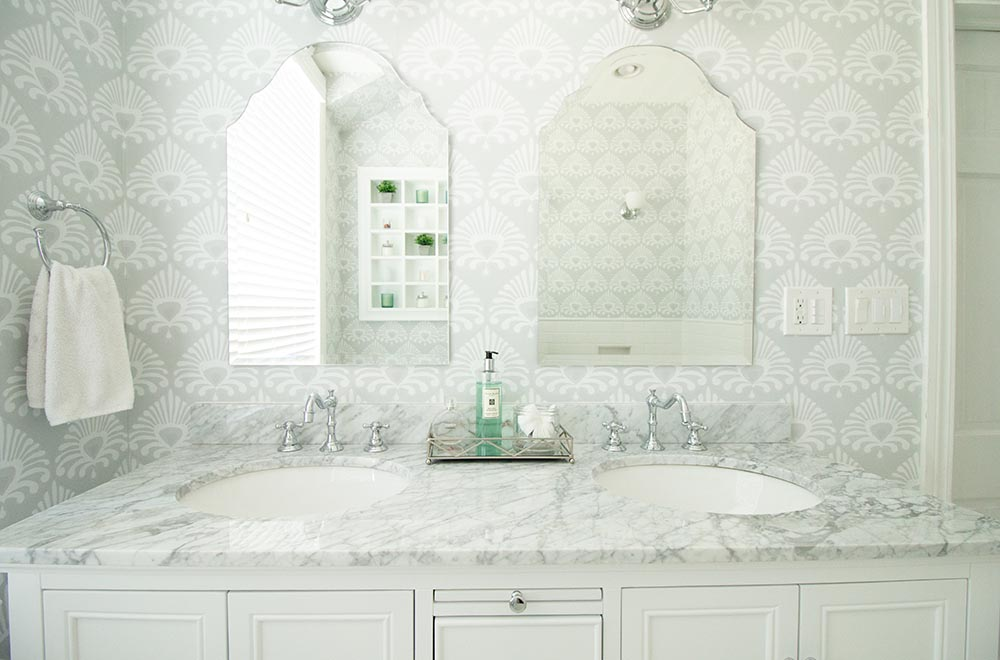 remodeled bathroom with dual vanity