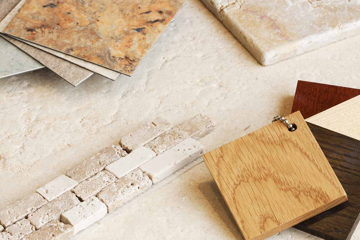 tile, wood, and stone samples