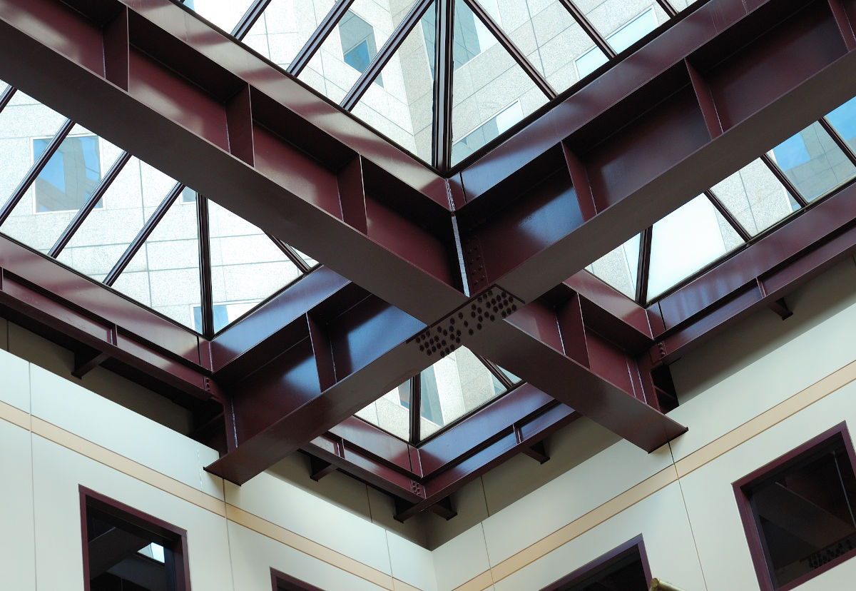skylight and metal beams in office building
