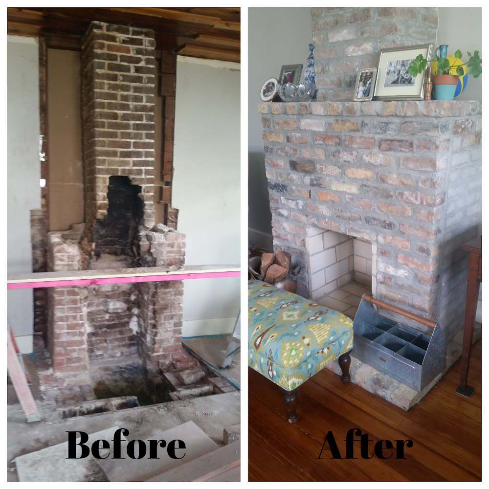 before and after fireplace repair