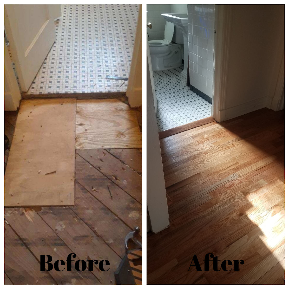 before and after hard wood floor repair