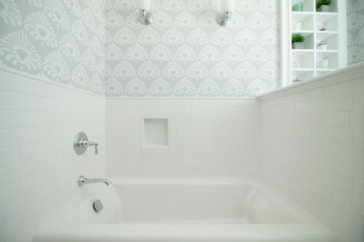 luxurious bathtub in remodeled bathroom
