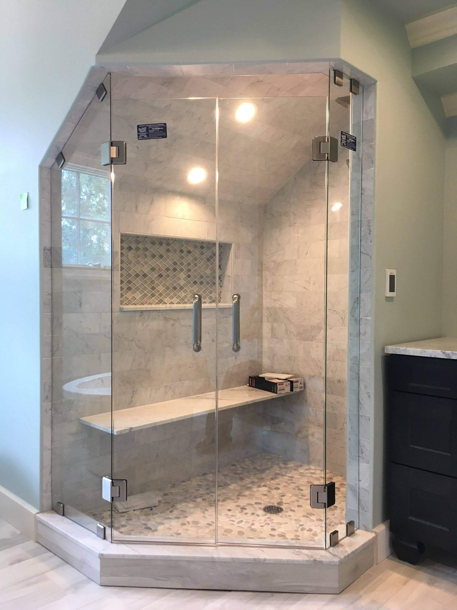 white and gray bathroom with dual sinks